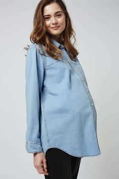 MATERNITY Oversized Bleach Denim Shirt - Topshop