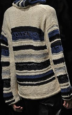 "decorialab: ""Yagal Azrouel S/S 2013"" - cream knit + crochet sweater w/ striped details in shades of blue (hva)"