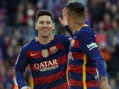 Barcelona's Argentinian forward Lionel Messi (L) and Barcelona's Brazilian forward Neymar celebrate an Getafe's own goal during the Spanish league football match FC Barcelona vs Getafe CF at the Camp Nou stadium in Barcelona on March Barcelona Football, Barcelona Futbol Club, Fc Barcelona, Football Icon, Football Match, Football Fans, Barcelona Vs Arsenal, Messi And Neymar, Own Goal