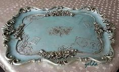 Fashion and Lifestyle Silver Platters, Silver Trays, Shabby Chic Crafts, Vintage Crafts, Muebles Shabby Chic, Diy And Crafts, Arts And Crafts, Silver Teapot, Chalk Paint Projects