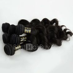 10 Inch - 30 Inch 3 Pieces Same Length Virgin Brazilian Remy Hair Weft Loose Wavy Natural Black 300g