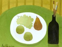 "Mary Fedden - ""Still Life with Black Bottle and Plate of Fruit"", 2010"