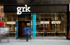 GRK by RED ANTLER , via Behance. Click image to see more of this branding for the fast casual restaurant that serves authentic Greek cuisine.