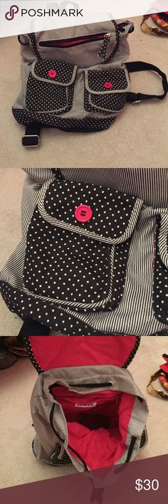 Black and white polka dot and stripped back pack! Super cute! Has main pouch that snaps shut and has an adjustable tie! Also has 2 pockets on the front that snap shut and one zipper pocket! Has a small zipper pocket inside! Backpack has adjustable straps to make longer or shorter! Claire's Bags Backpacks