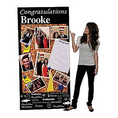 Personalize your graduate's party with this fun Memory Board Graduation Standee. Each vinyl Memory Board Graduation Standee is 3 ft. wide x 7 ft. tall.