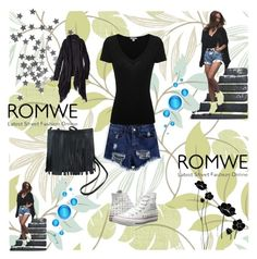 """""""Ripped Fringe Denim Shorts WITH ROMWE"""" by maja9888 ❤ liked on Polyvore featuring American Eagle Outfitters, James Perse and Converse"""
