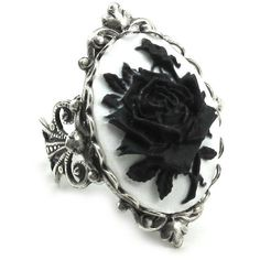 Neo Victorian Ring - Gothic Ring - Adjustable Black on White Mourning... (€32) ❤ liked on Polyvore featuring jewelry, rings, accessories, band rings, vintage rings, vintage rose ring, victorian cameo ring and black cameo ring