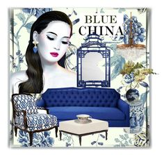 """""""Blue China!!"""" by littlefeather1 ❤ liked on Polyvore featuring interior, interiors, interior design, home, home decor, interior decorating, Legend of Asia, Kristin Drohan Collection, Frontgate and Massoud"""