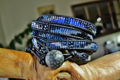 COSMOS 5 Wrap Black Leather Bracelet featuring Miyuki Metallic Blues/Silver & Metallic Mix Delica Beads, Gunmetal diamond detail Button