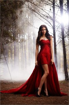 Elegant red long evening dress