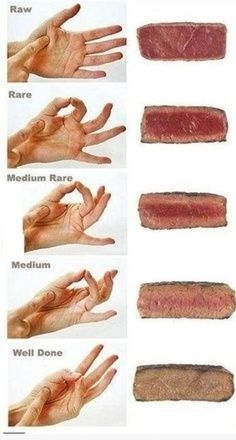 How to tell the consistency of your steak with your hands! Stop cutting into your steak while it is cooking. Any chef or cook determines doneness by feeling it. Also, let the steak rest for 5 to 10 minutes before cutting into it. Think Food, Love Food, Cooking Tips, Cooking Recipes, Cooking Steak, Cooking Food, Cooking Videos, Cooking The Perfect Steak, Carne Asada
