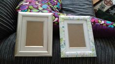 Decoupaged picture frame before an after