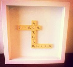 Personalised Scrabble picture for you. Any names, phrases, inside jokes- you name it, we can do it. Perfect for a wedding or new baby present. MAKE THEM SMILE! by MeAndMrsJonesCrafts on Etsy, £25.00