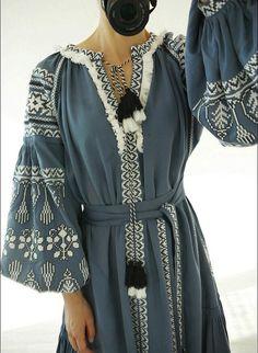 Ukrainian Vyshyvanka Vita Kin Style Embroidered Long by Hawwh Folk Fashion, Ethnic Fashion, Hijab Fashion, Womens Fashion, Ethno Style, Bohemian Style, Hippy Chic, Boho Chic, Ukrainian Dress