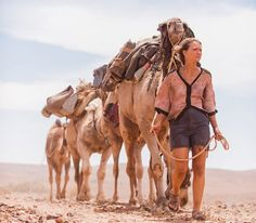 """In Robyn Davidson left her life in the city to trek over kilometers across the Australian outback from Alice Springs to the ocean, accompanied by four camels and her dog. Her trip spawned an excellent book and """"Tracks"""", a film starring Mia Wasikowska. Mia Wasikowska, About Time Movie, All About Time, Film Wolf, Australian Desert, Voyager Seul, National Geographic Photographers, Travel Movies, Walkabout"""
