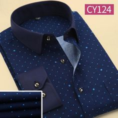 Men Polka Dot Printed Fashion Slim Long Sleeve Shirts Casual Polyester  Dress Shirt 19 Color - b2c0e27ccf