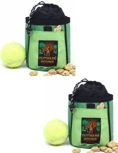 $9.59-$14.99 SET OF 2 - Treat and Ball Bags - GREEN - This Treat 'N Ball Bag is ideal for holding a ball, treats and other items used in play and training. Keeps your hands free and keeps treats and balls out of your pet's view. Drawstring secures closure and traps smells inside bag when not in use. The durable clip attaches to belt loop or clothing. Assorted colors.  Size: 7.5 in H x 5.5 in W. F ...
