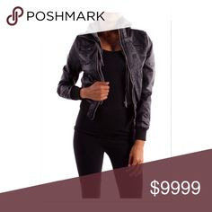 SALE‼️ONLY 2 LEFT‼️Vegan Leather Lined Bomber Hoodie Lined Bomber Jacket Bomber outer shell 100% polyurethane -99% poly 1 spandex ⭐️Fleece hooded jacket ⭐️ Cropped Jacket ⭐️ Perfect Warm Jacket ⭐️Side Zippers at Top/Runs a bit small 🚫Trades/ PayPal or Mercari *️⃣Price Firm Unless Bundled 🚫Exchanges/Measurements Upon Rqst *️⃣ All items inspected and photographed prior to shipment for quality control Jackets & Coats
