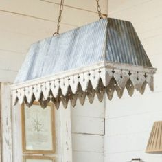 Old POrch Pendant Light Fixture - a metal hanging light fixture consisting of corrugated metal and chippy painted wood, making it a perfect farmhouse light fixture - via Antique Farmhouse Porch Pendant Light, Porch Light Fixtures, Farmhouse Light Fixtures, Farmhouse Chandelier, Farmhouse Lighting, Pendant Light Fixtures, Pendant Lighting, Coastal Light Fixtures, Antique Light Fixtures