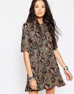 Glamorous Swing Dress in Dark Paisley Print