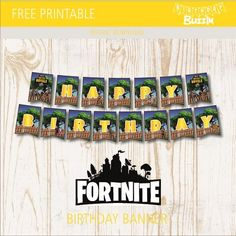 This free printable Fortnite birthday banner template is great for making a banner decoration at your Fortnite birthday party that reads HAPPY BIRTHDAY. The template is inspired by the super popular s 10th Birthday Parties, Birthday Fun, Birthday Celebration, Birthday Party Themes, Birthday Ideas, Birthday Banner Template, Happy Birthday Banners, Party Background, Party Printables