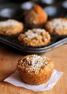 Grain-Free Carrot Cake Muffins made with almond flour| http://theroastedroot.net - gluten free, refined sugar-free, and healthy enough for breakfast #recipe #dessert #glutenfree