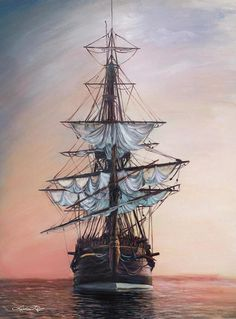 """""""Sunset Arrival"""" Paper Print Sunset Arrival art print by Lindsay Rapp. Our prints are produced on acid-free papers using archival inks to guarantee that they last a lifetime without fadin Lindsay Rapp, Bateau Pirate, Old Sailing Ships, Ship Drawing, Image Nature, Ship Paintings, My Art Studio, Cool Art Drawings, Texture Painting"""