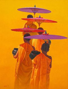 the power of yellow Buddha Painting, Buddha Art, Umbrella Art, Paintings I Love, Art For Art Sake, World Of Color, Belle Photo, Asian Art, Buddhism