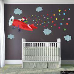 Avión con confeti - Vinilos infantiles
