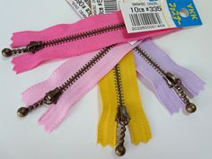 Cheerful zippers perfect for triangle pouches -- listed in my Etsy shop.
