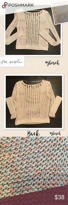 Free People Green & Orange Open Weave Sweater The pictures don't show how pretty this Free People sweater is. It is a lovely light green and orange cotton and linen open weave sweater. 💕Johnna Free People Sweaters Crew & Scoop Necks