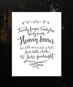 The perfect gift for twin moms! Twins Poem HandLettering Print by HeyNormalDayShop on Etsy, $17.50