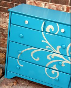 beautiful stenciled dresser #DIY - I like the large scale. I'd add a little more perhaps to this design & shrink down the main feature.