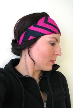 Tribal Jersey headband, Wide Hippie headwrap, Stretchy Yoga headband, Workout headband, Women's head wrap