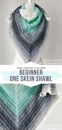 Beginner One Skein Shawl Free Crochet Pattern Minty green is so great for warm days! If you need a really simple pattern for a triangle shawl, this on. Crochet Prayer Shawls, Crochet Shawl Free, Crochet Wrap Pattern, Crochet Shawls And Wraps, Crochet Scarves, Prayer Shawl Crochet Pattern, Free Crochet Poncho Patterns, Beginner Crochet Patterns, Crochet Ripple