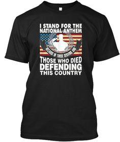The National Anthem Veteran's Day T Shir Black T-Shirt Front