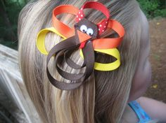 Thanksgiving hair bow. I'm sure I could make something similar to this! #FallCrafts    (This item is no longer available on Etsy,I have this pinned for inspirational purposes only)