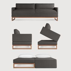 Diplomat Sleeper Sofa - convertible sofa sleeper designed by Blu Dot. Folds down to a queen size bed.