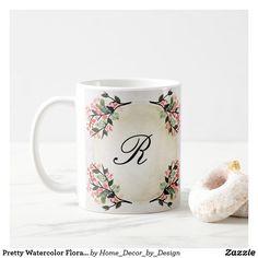 Pretty Watercolor Floral Monogrammed Coffee Mug