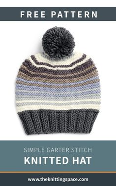Easy Knitting Projects, Easy Knitting Patterns, Knitting For Beginners, Free Knitting, Colored Braids, Knitting Accessories, Garter Stitch, Knitted Hats, Free Pattern