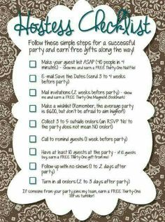 Hostess Checklist