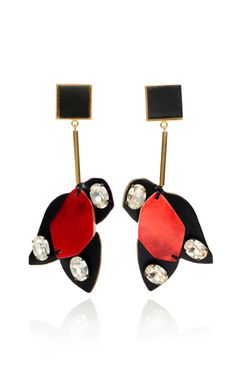 Marni Hot Red Geometric Puzzle Piece Earrings