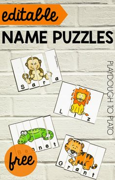 Zoo Name Puzzles! A fun way for kids to work on spelling their names, with a fun zoo theme! Perfect for zoo unit with preschool and kindergarten students! Name Activities Preschool, Kindergarten Names, Preschool Literacy, Early Literacy, Preschool Activities, Outdoor Activities For Preschoolers, Preschool Name Recognition, Preschool Social Studies, Kindergarten Literacy Stations