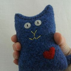 Blue Stuffed Cat with Red Heart  Valentine Kitty  by Zuparoo, $18.00