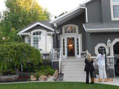 Dark gray stucco home painted by #CertaPro #Painters of West Salt Lake....looks great!