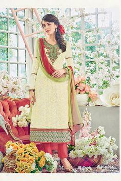 Cream Color Georgette Fabric Salwar Kameez