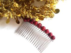 Eco-Friendly Hair Accessory, Silver Hair Comb, Red Organic Beads, Wire Wrapped Hair Combs, Vegan Gifts, Stocking Stuffer by TerriJeansAdornments on Etsy