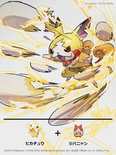 También experimentó con una fusión de Pikachu y Jibanyan de Yōkai Watch.