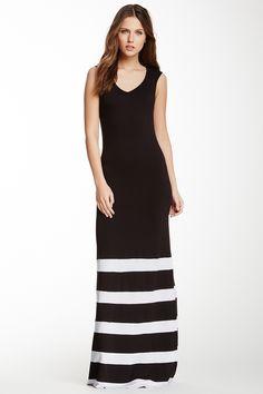 stripe maxi, maxi dresses, vneck stripe