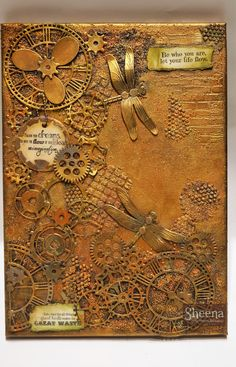 mixed media project using Sheena Douglass stamps and dies. Pebeo art products.